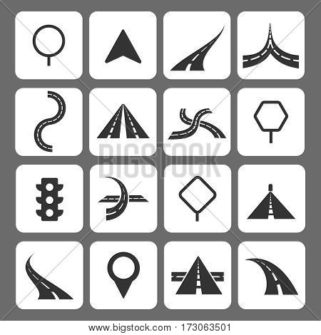Road movement signs and traffic navigation icons. Set of road traffic icon illustration