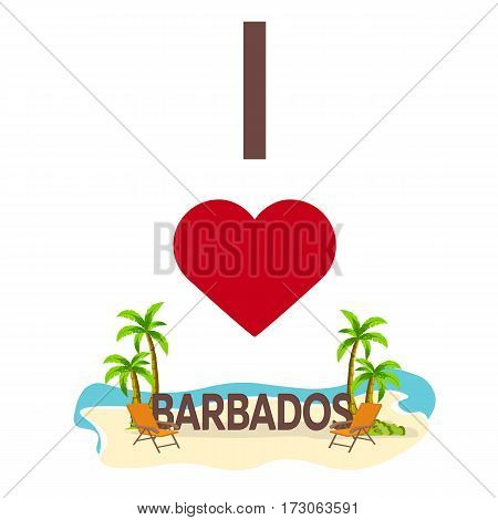 I Love Barbados. Travel. Palm, Summer, Lounge Chair. Vector Flat Illustration.