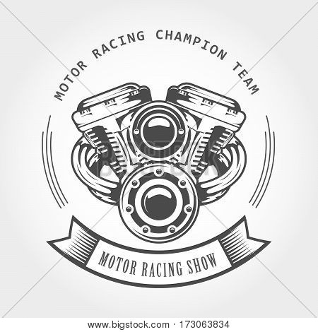 Motorcycle engine - chopper motor bike show emblem