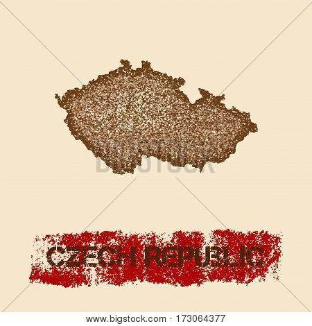 Czech Republic Distressed Map. Grunge Patriotic Poster With Textured Country Ink Stamp And Roller Pa