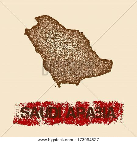 Saudi Arabia Distressed Map. Grunge Patriotic Poster With Textured Country Ink Stamp And Roller Pain