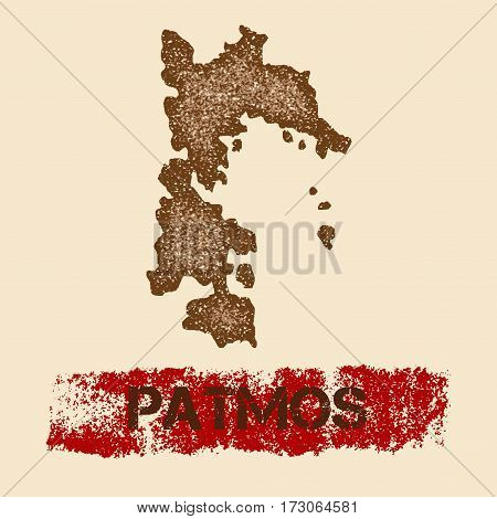 Patmos Distressed Map. Grunge Patriotic Poster With Textured Island Ink Stamp And Roller Paint Mark,