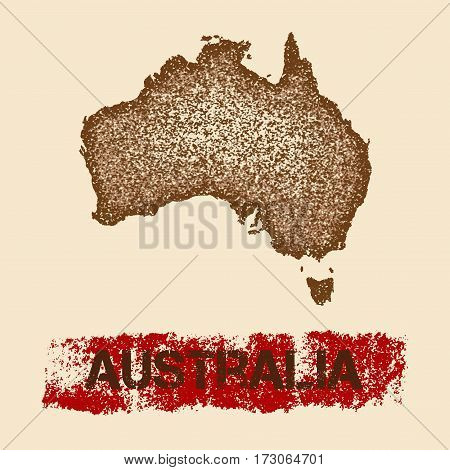 Australia Distressed Map. Grunge Patriotic Poster With Textured Country Ink Stamp And Roller Paint M