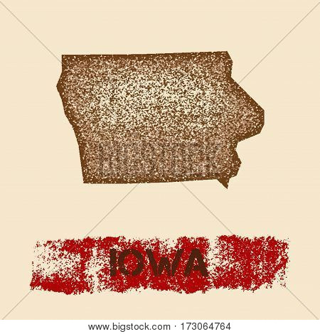 Iowa Distressed Map. Grunge Patriotic Poster With Textured State Ink Stamp And Roller Paint Mark, Ve