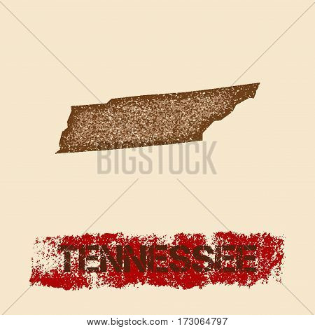 Tennessee Distressed Map. Grunge Patriotic Poster With Textured State Ink Stamp And Roller Paint Mar