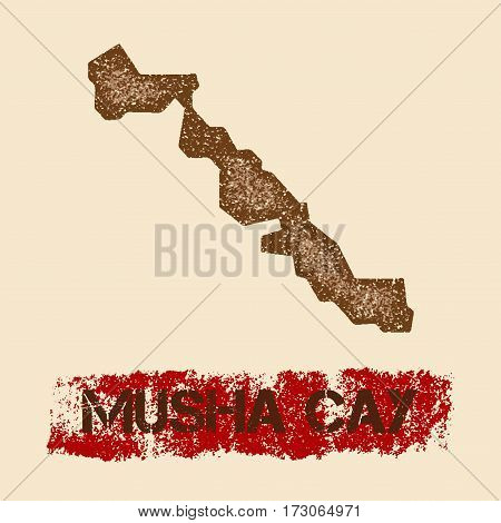 Musha Cay Distressed Map. Grunge Patriotic Poster With Textured Island Ink Stamp And Roller Paint Ma