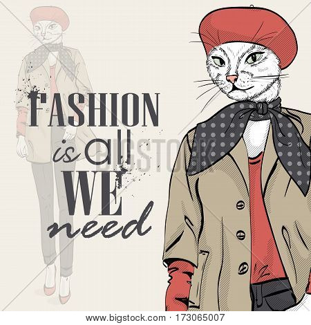 Vector elegant woman with cats had with beret and scarf color. Fashion is all we need