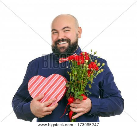 Funny fat man with bouquet of flowers and giftbox on white background