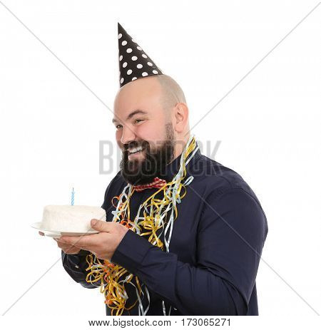 Funny fat man with birthday cake on white background