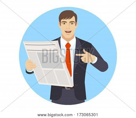 Businessman pointing at newspaper. Portrait of businessman in a flat style. Vector illustration.