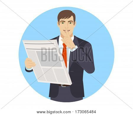 Hush hush. Businessman making hush sign. Portrait of businessman in a flat style. Vector illustration.