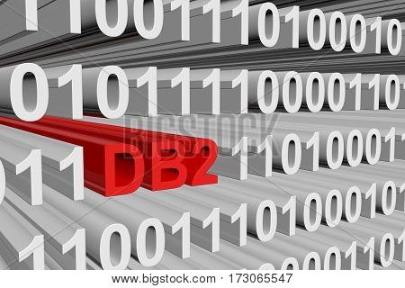db2 in the form of binary code, 3D illustration