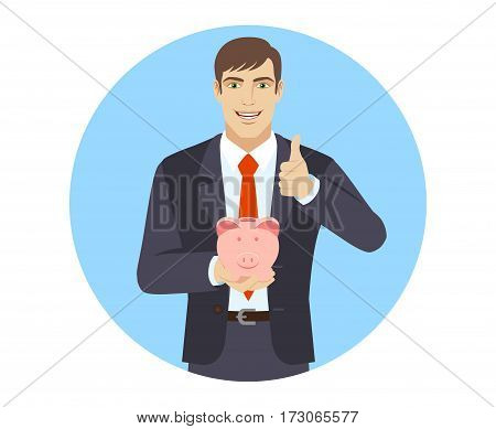 Businessman holding a piggy bank and showing thumb up. Portrait of businessman in a flat style. Vector illustration.
