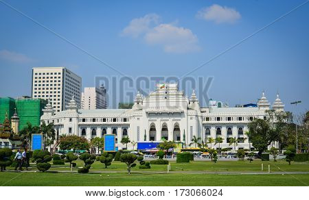 City Hall Building In Yangon, Myanmar.