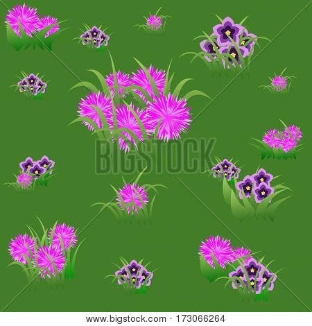 Floral seamless pattern with pink and violet flowers and grass on summer green background. Vector illustration
