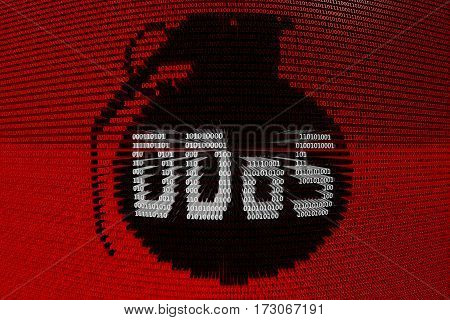 ddos in the form of grenades binary code 3D illustration