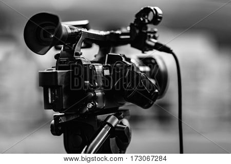 interviewing businessman with tv camera , black and white image, close up