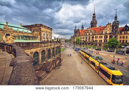 DRESDEN GERMANY - JUNE 7 2012: Old town of Dresden before storm View from Dresden art gallery