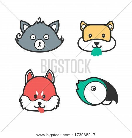 Pet icons. Cute cartoon cat, dog, hamster and parrot. Set of animal heads. Funny friendly colorful pets
