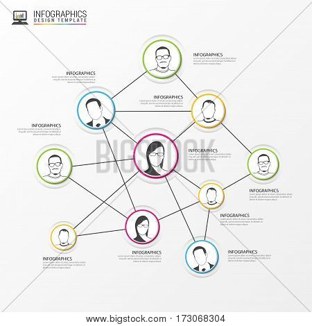 Social network concept. Global communication infographic elements. Vector illustration
