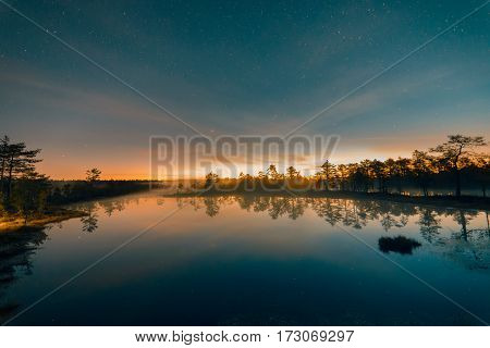 Starry summer night at a swamp. Viru raba Estonia