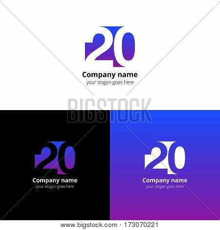 20 logo icon flat and vector design template. Monogram years numbers two and zero. Logotype twenty with purple-blue gradient color. Creative vision concept logo, elements, sign, symbol for card, brand
