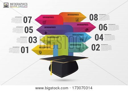 Graduation cap. Infographics with arrows. Modern template. Vector illustration