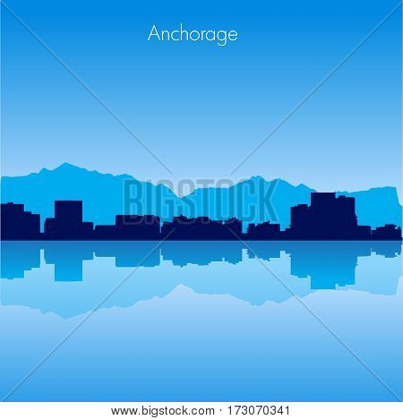 Anchorage USA Vector detailed skyline with reflexion