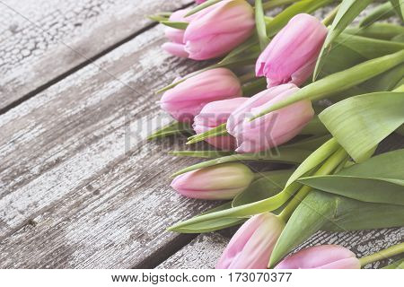 Bouquet Of Pink Tulips On A Shabby Wooden Table.