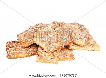 Close up delicious cookie with sesame - isolated on white background