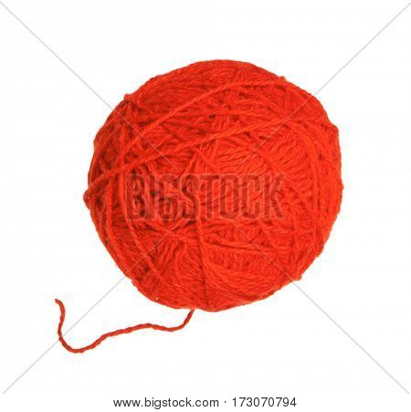 Red ball of yarn for knitting isolated on white background