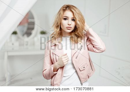 Stylish Beautiful Woman In Spring Leather Jacket Is Going To A Party