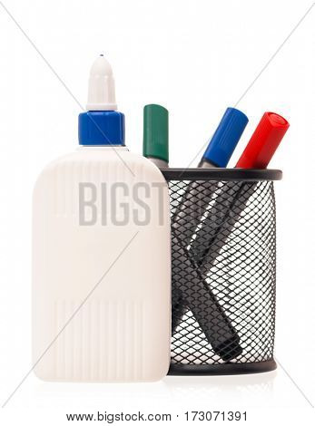 Office supplies - markers and glue bottle isolated on white background