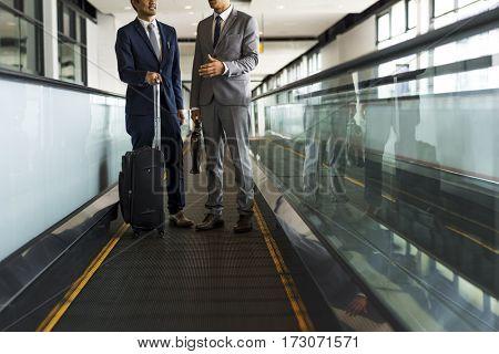 Business Men Travel Luggage Escalator Talk
