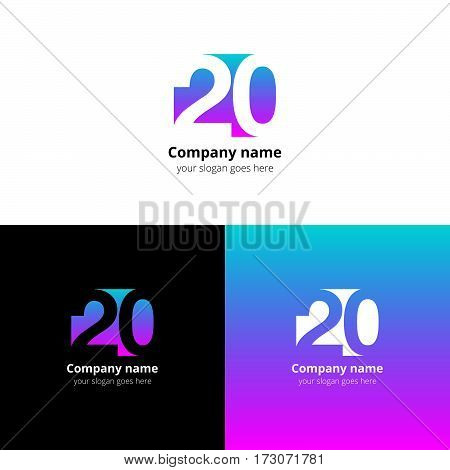 20 logo icon flat and vector design template.Logotype twenty with blue-pink gradient color. Creative vision concept logo, elements, sign, symbol for card, brand.