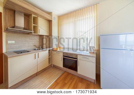 New wooden kitchen interior with appliances.. Home interior