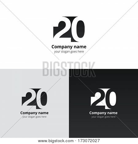 20 logo icon flat and vector design template. Monogram years numbers one and zero. Logotype twenty with grey gradient color. Creative vision concept logo, elements, sign, symbol for card, brand.