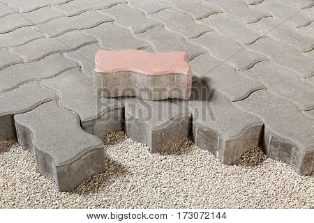 pedestrian path with paver bricks. Sidewalk pavement