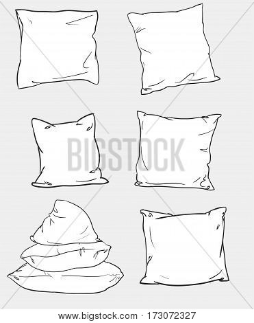 Illustration of pillow sketch, vector pillow set