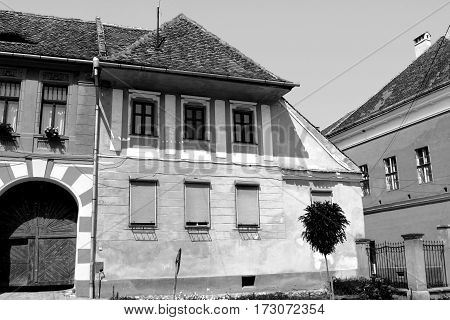 Black & White. Typical house. Biertan is one of the most important Saxon villages with fortified churches in Transylvania, having been on the list of UNESCO World Heritage Sites since 1993