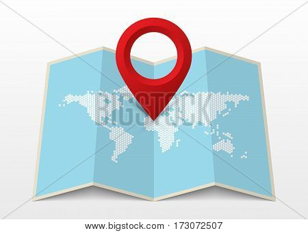 Map icon with Pin Pointer. Modern design. Vector illustration