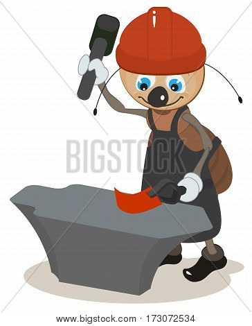 Ant smith hit hammer on anvil. Vector cartoon illustration