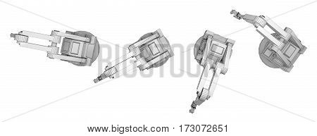 sequence robotic arm isolated on white. top view. 3d rendering