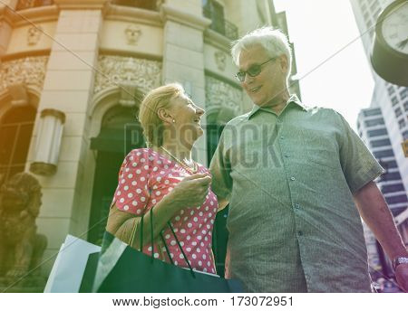 Photo Gradient Style with Senior Adult Couple Shopping Lifestyle