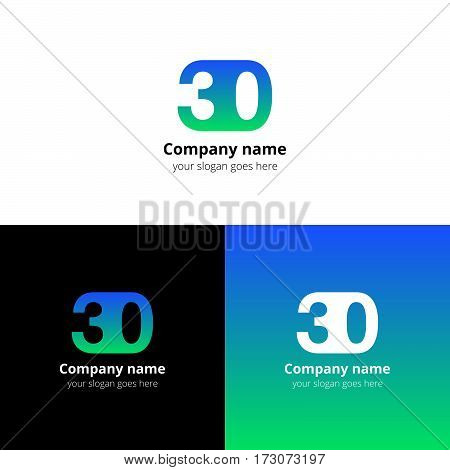 30 logo icon flat and vector design template. Monogram years numbers three and zero. Logotype thirty with blue-green gradient color. Creative vision concept logo, elements, sign, symbol for card,