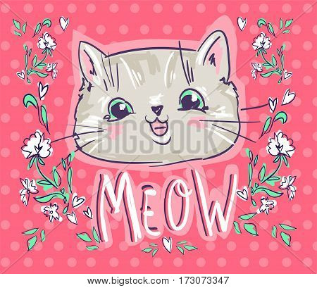 Love cats, cat, kitten, cute cat sketch vector illustration, print design cat, children print on t-shirt girl