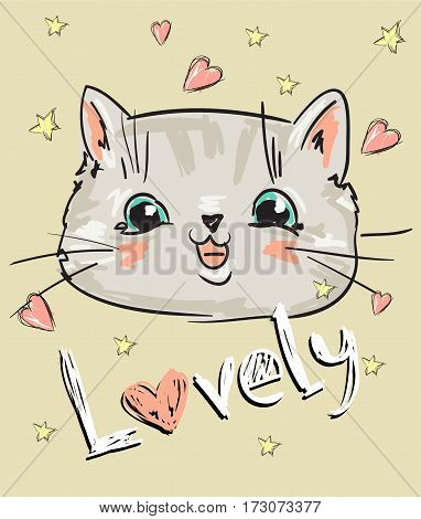 vector lovely cat, Love cats, cat, kitten, cute cat sketch vector illustration, print design cat, children print on t-shirt girl