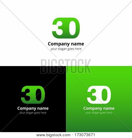 30 logo icon flat and vector design template. Monogram years numbers three and zero. Logotype thirty with orange gradient color. Creative vision concept logo, elements, sign, symbol for card, brand.