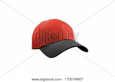 Colorful black and red fashion cap isolated on white background with clipping path.