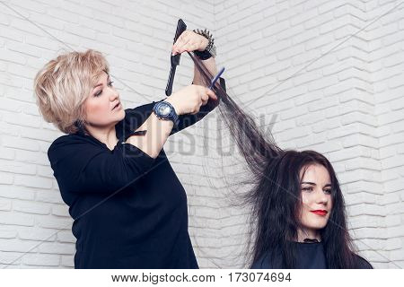 Women's haircut. Hairdresser, beauty salon. Professional hairdresser middle aged woman making stylish haircut. Stylist cutting woman hair. Process of hair cutting with use open-blade